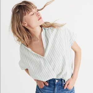 Madewell Central Shirt Mint Stripe - small